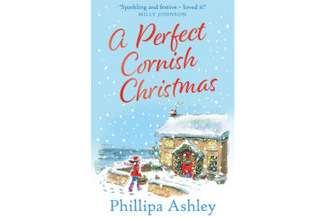 Cover of A Perfect Cornish Christmas, illustration of snowy scene, woman entering gate of stone house, Sea Holly Manor decorated for Christmas