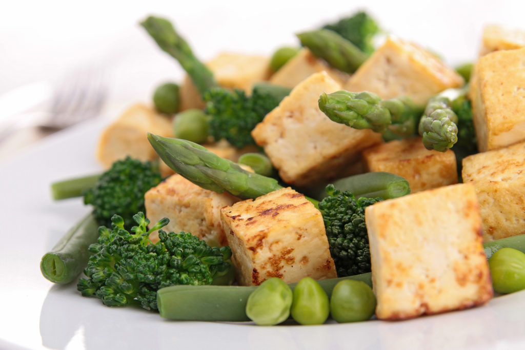 Grilled tofu and vegetables