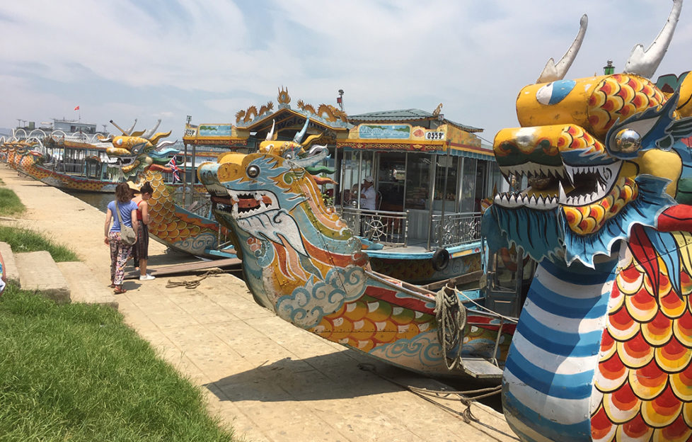 Dragon boats on perfume river