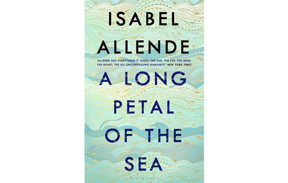 Cover of A Long Petal Of The Sea, lettering over illustration of waves in shades of turquoise with fine gold patterns