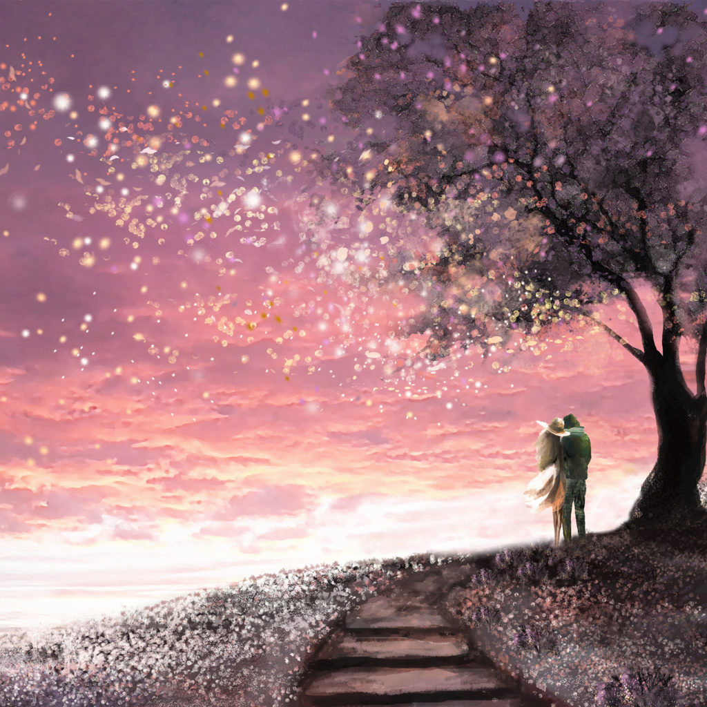 Fantasy illustration with beautiful sky, stars. woman and man under an tree looking at the sunset, cute landscape. Painting. floral meadow and steps