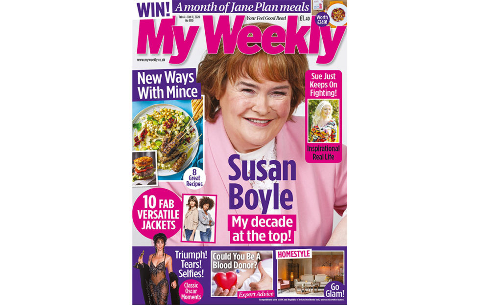 Cover of My Weekly latest issue with Susan Boyle and mince recipes