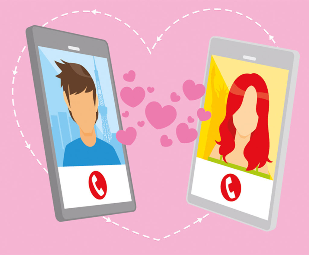 Illustration of two smartphones, one with an image of a young man, the other of a young woman, with a cloud of little hearts collecting between them
