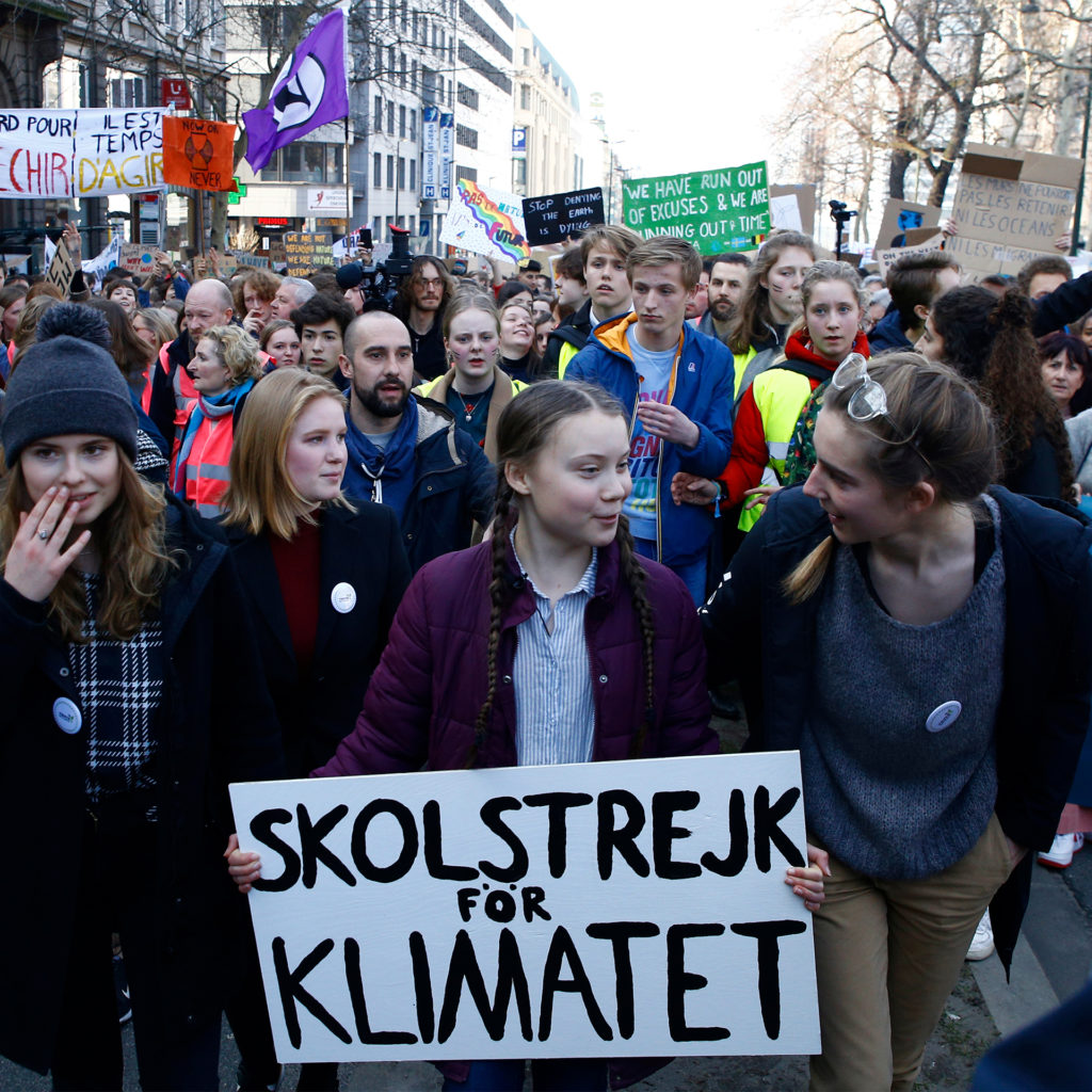 Brussels, Belgium. February 2019. Swedish 16-year-old climate activist Greta Thunberg leads a march for the environment organised by students