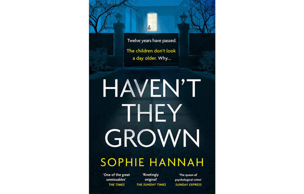 Cover of Haven't They Grown, silhouette of grand gateposts and light from a window, faint outline of a figure