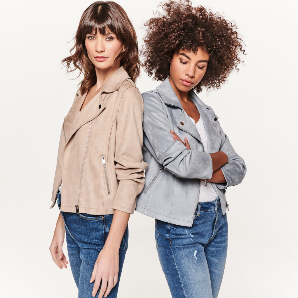 2 young models in pastel suede biker style jackets