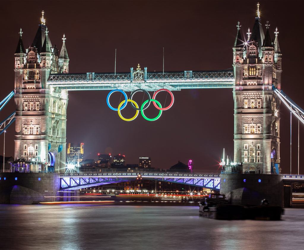 Tower Bridge at night with Olympic Symbol during London 2012 Olympic Games