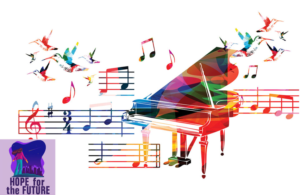 Grand piano and music staves, with flying hummingbirds, all in rainbow colours
