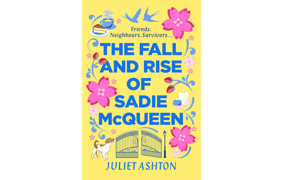 Cover of The Fall And Rise Of Sadie McQueen, blue block capitals on yellow cover, with flowers, lovebirds and a pair of ornate gates around the edge