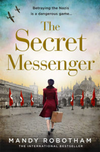 Cover of The Secret Messenger, woman in red coat walking up cobbled street in Venice with Nazi swastika flags each side
