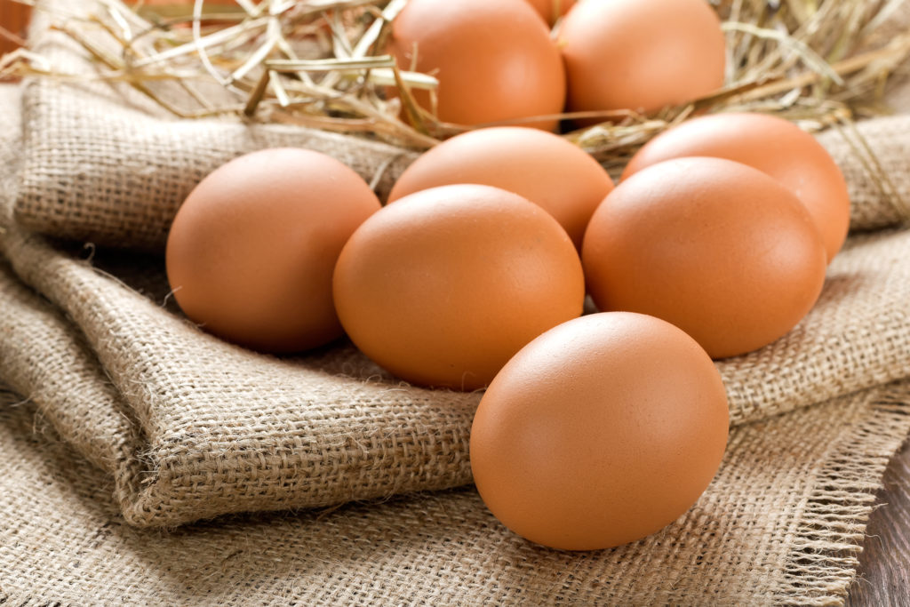 Eggs lying on hessian cloth