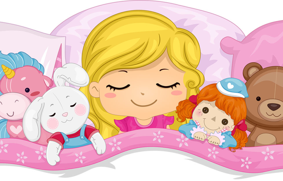 Little girl with soft toys in bed Illustration: Shutterstock