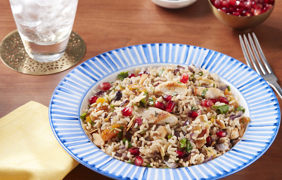Bowl with radiating blue and white stripes around rim, containing wholegrain rice dish with chicken and pomegranate seeds