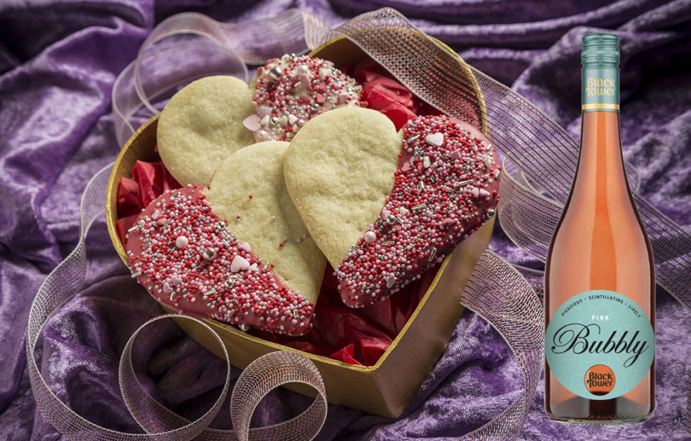 Valentine biscuits and pink bubbly
