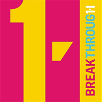 Logo of Breakthrough charity, yellow and magenta