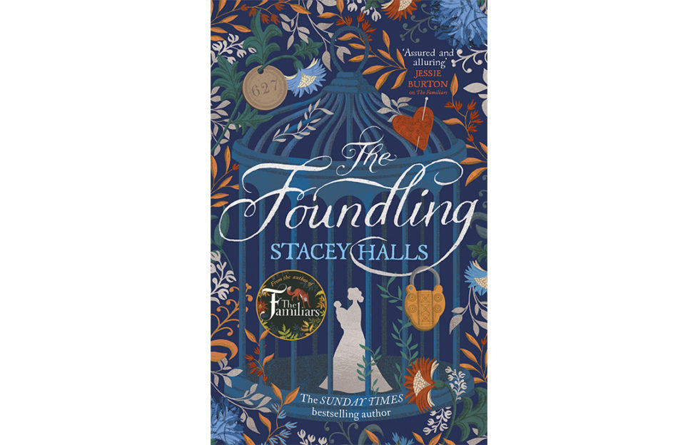 Cover of The Foundling, white silhouette of Georgian woman in bonnet on blue, surrounded by illustrations of leaves and hearts