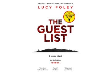 Cover of The Guest List - white background, silhouette of island with lighthouse, letters in red and black