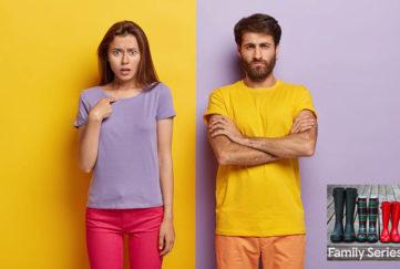 """Girl in purple t shirt against yellow wall, man in yellow t shirt against purple wall. He looks defensive, she is asking, """"what, me?"""""""