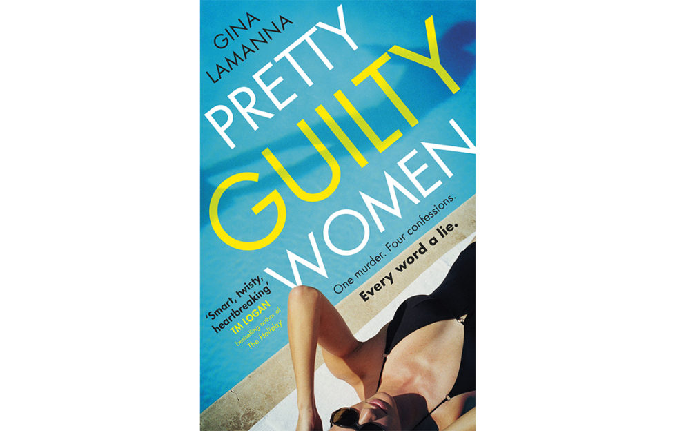 Cover of Pretty Guilty Women, woman in low cut black swimsuit and sunglasses lying beside turquoise swimming pool