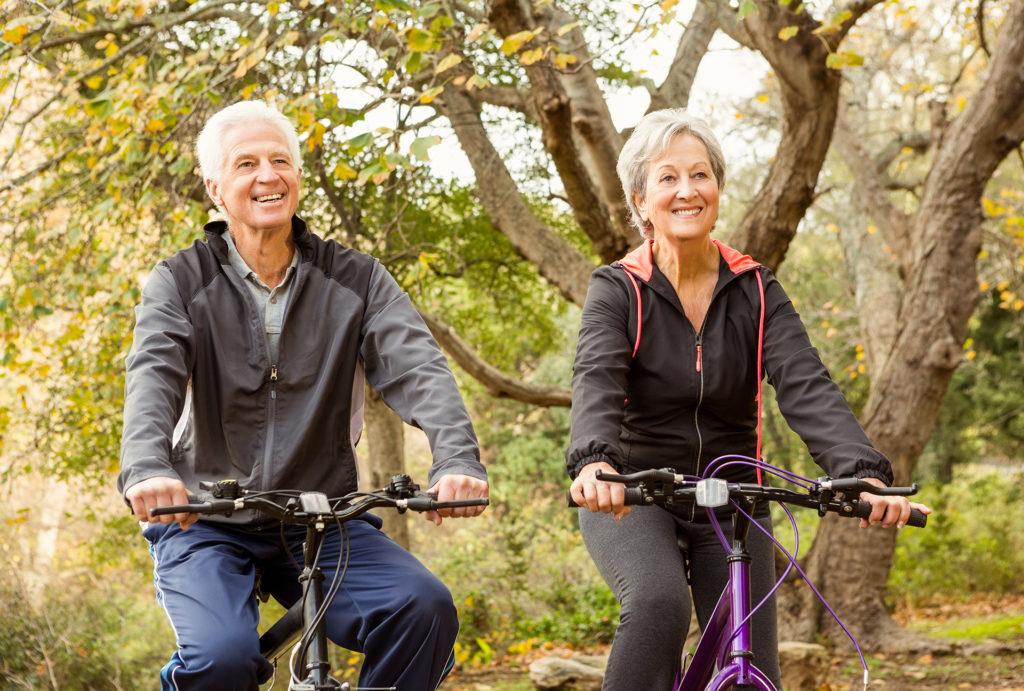 Senior couple in the park on an autumn day