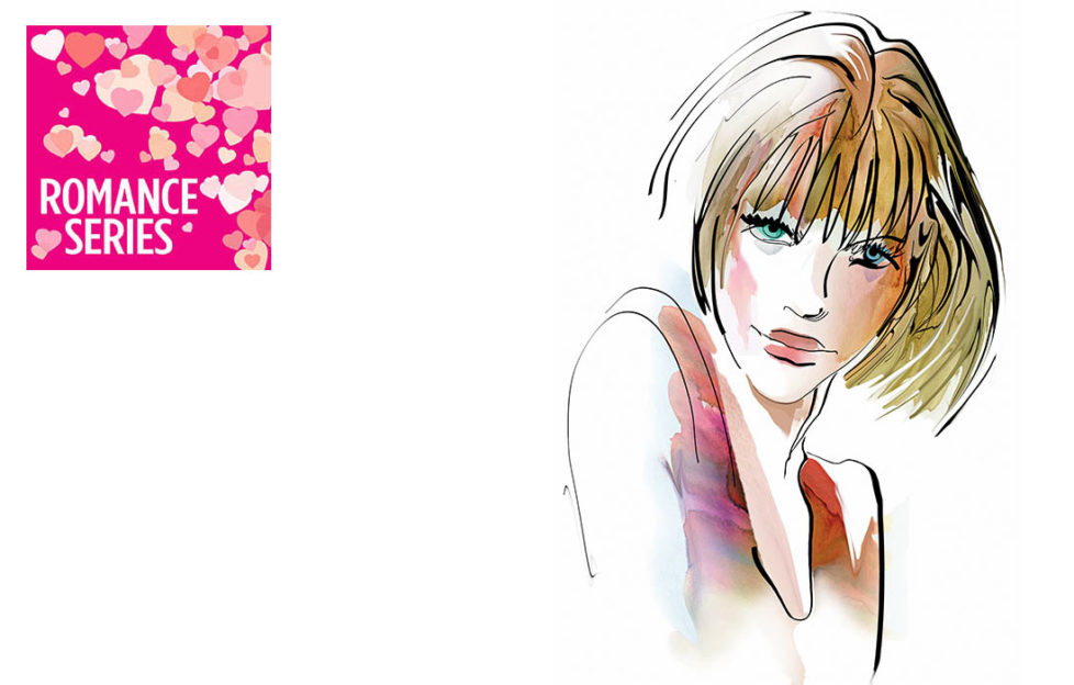Watercolour sketch of shy woman in sleeveless top,, shoulders hunched, looking up sideways, looking for lucky stars