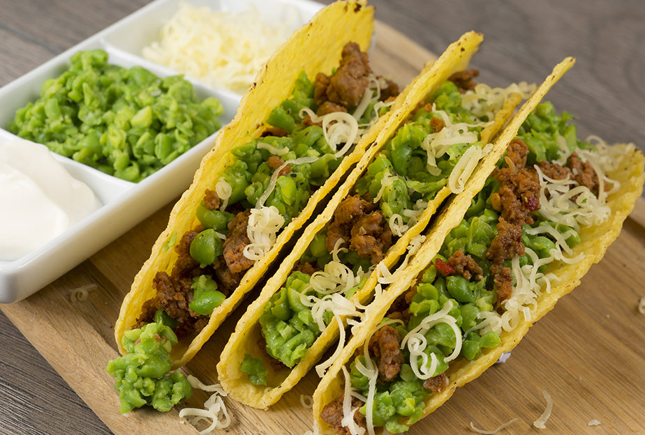 Spicy Beef Tacos with Peas