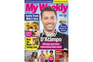 Cover of My Weekly latest issue with Gino D'Acampo and family treats cookery with a twist