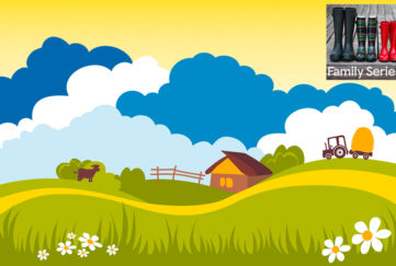 Digital illustration of rolling hills, fluffy clouds and farmhouse