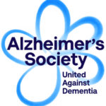 Logo of Alzheimer's Society, black text across blue outline of a forget-me-not flower