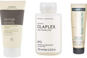 Bottles and tubes of hair treatment - Aveda, Olaplex and Osmo (mentioned in text below)