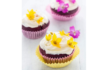 Choc cupckes with edible flowers