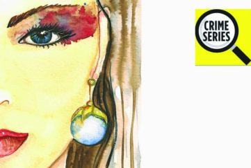 Watercolour illustration, half of a girl's face with red eyeshadow, long blonde hair and large pearl earring and necklace