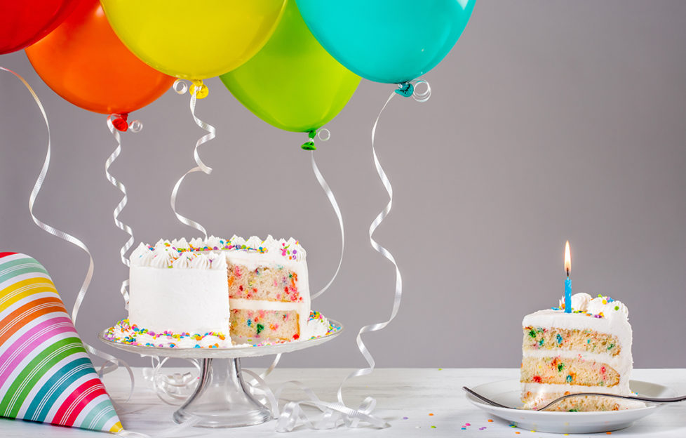 Birthday cake and balloons Pic: Shutterstock