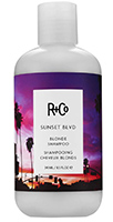 Bottle of R&Co Sunset Boulevard shampoo, white bottle with image of purple and pink sunset