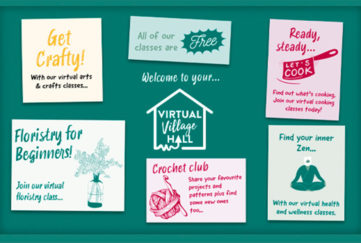 Graphic of green noticeboard with notices advertising cookery, flower arranging, crochet club and the fact all classes are free