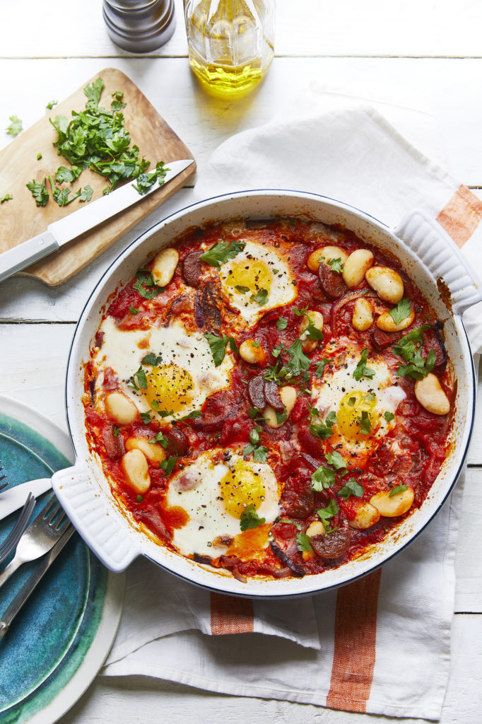 Baked Eggs With Butterbeans