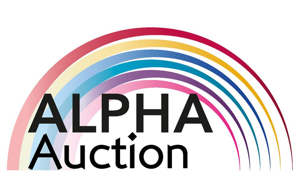 Logo with text Alpha Auction against a rainbow