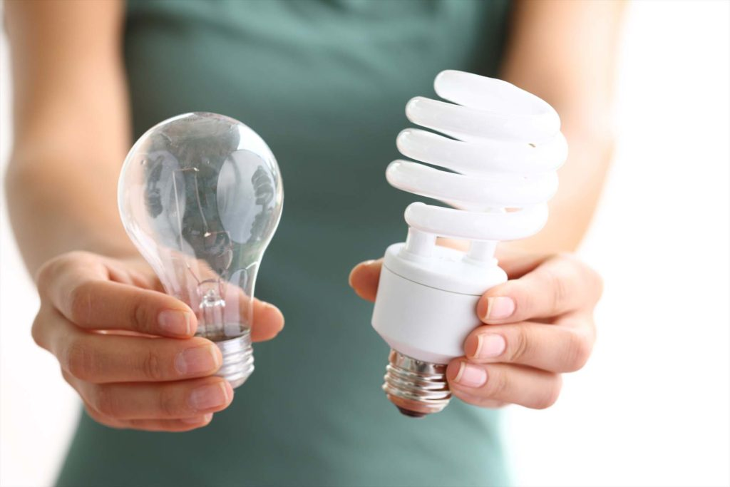Hands holding traditional and energy efficient light bulbs
