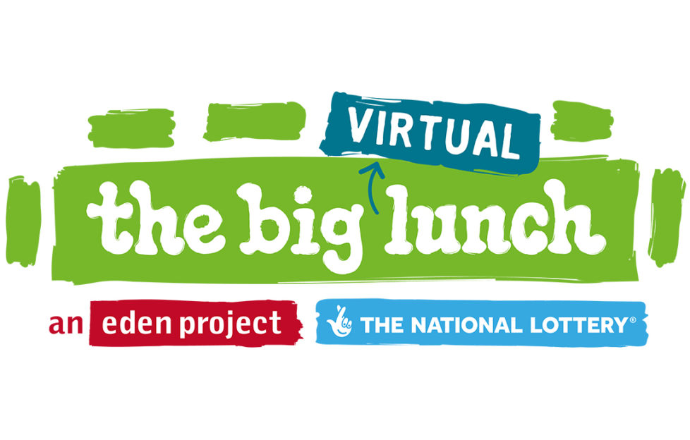 logo of big virtual lunch, text on green panel representing a long table, shorter green bars around it representing chairs