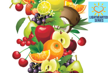 Digital illustration of a cascade of fresh fruit, cherries, citrus, coconut, apples. pears, healthy diet