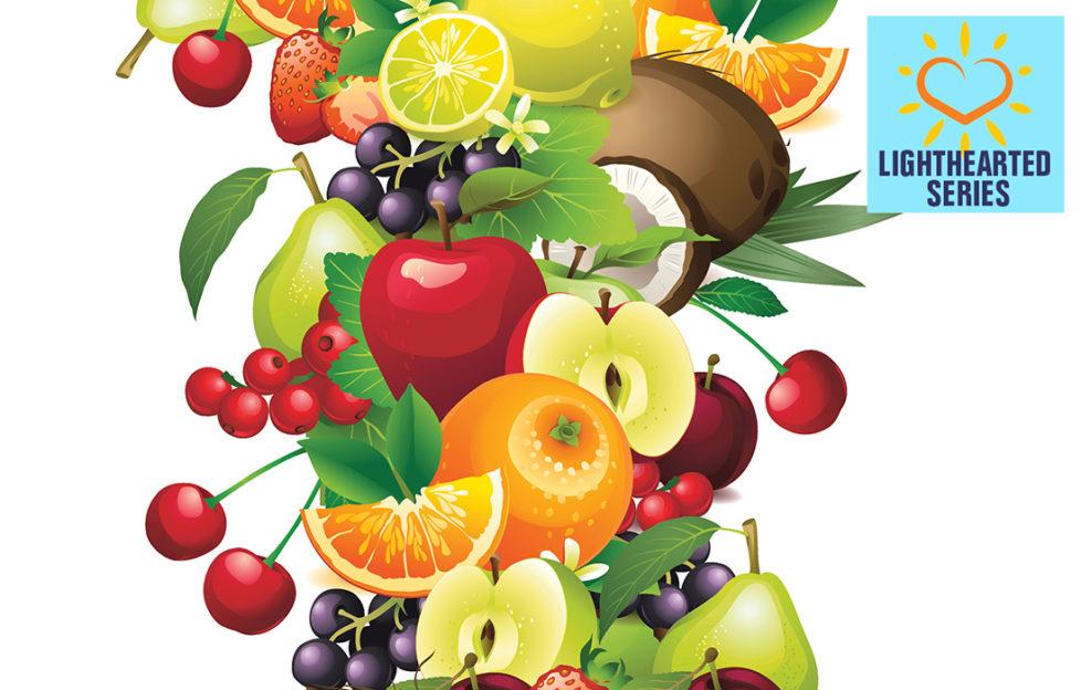 Digital illustration of a cascade of fresh fruit, cherries, citrus, coconut, apples. pears, healthy diet
