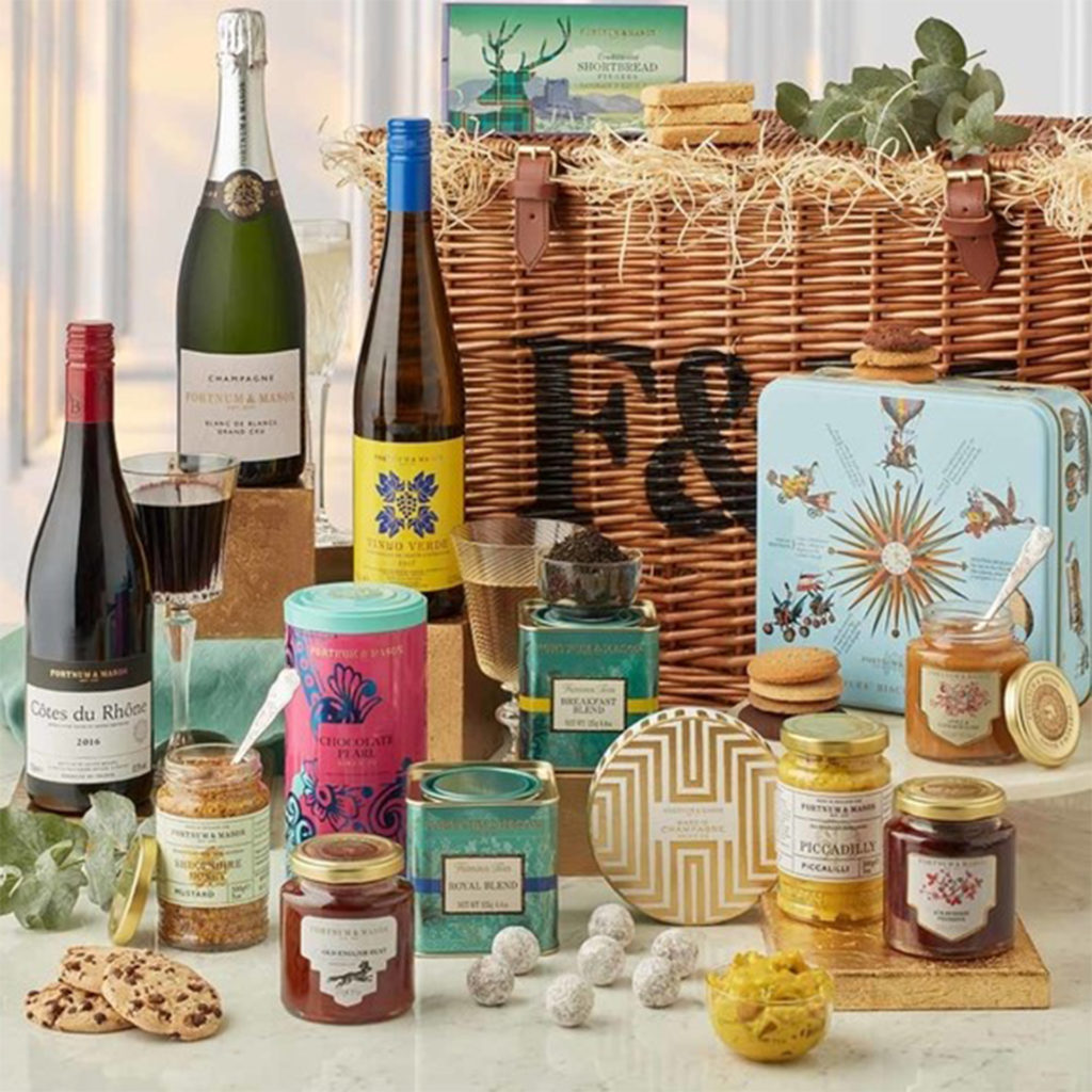 Fortnum & Mason hamper contents including alcohol and luxury food items