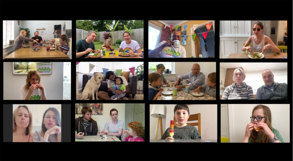 Composite image of people on screen eating, from a boy with an ice lolly to people sitting on the floor with their dog