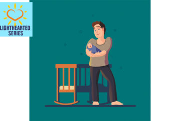 Digital illustration of barefoot dad, half smiling, beside cot, cradling crying baby, night time