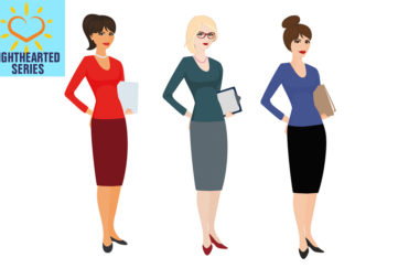 Digital illustration of 3 female office workers, different hair and clothes, same pose