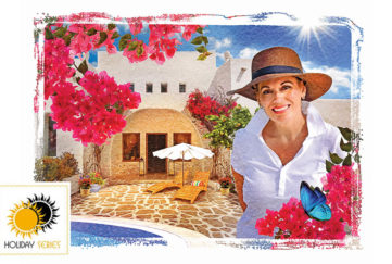 Elegant 50-something grandmother, smiling, in sunhat and white shirt, beautiful Majorcan villa behind with red bougainvillea flowers