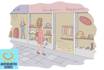 Pastel coloured illustration of a girl looking into the window of a clothes and shoes shop. She wasn't looking for new sandals
