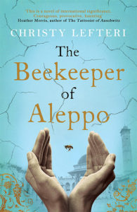 Cover of The Beekeeper of Aleppo, cupped hands releasing a bee, blue background overlaid with hairline cracks