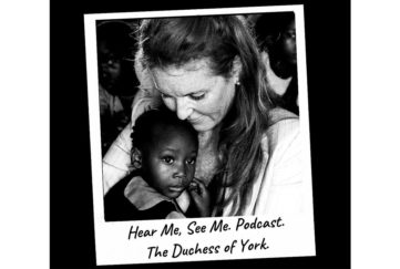 Polaroid style black and white photo of Sarah Ferguson cuddling a small black girl, caption hear Me See Me Podcast, The Duchess Of York