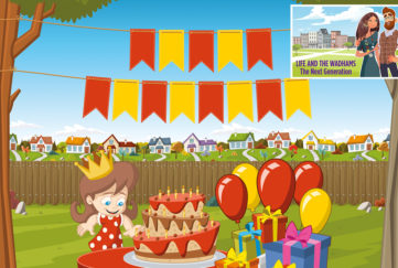 Illustration of small girl looking delighted at birthday cake on table in the garden, with bunting and pile of presents